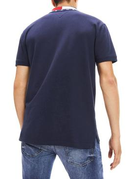 Polo Tommy Jeans Flag Neck Marine Herren