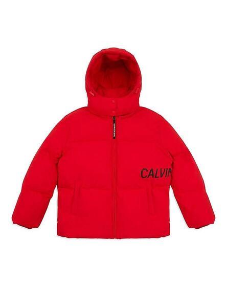 Daunenjacke Calvin Klein Übergroßes Logo Rot Damen