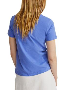 T-Shirt Ecoalf Underlined Because Blau für Damen